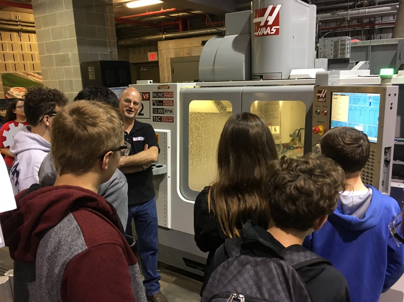 High School students on a tour of the HAAS Machine