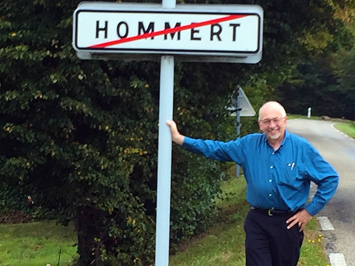 Paul Hommert leaving the village of Hommert in the Alsace-Lorraine region of Eastern France